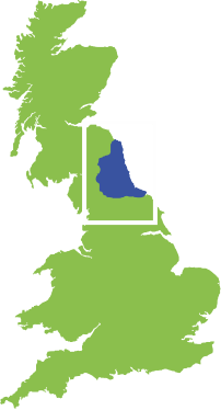UK map, showing where Grassholme is